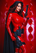 Bianca Beauchamp - Bianca Beauchamp in tight red latex being a comic hero.