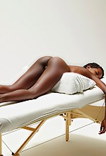 Ebony Massage - Beautiful ebony babe gets a massage on Hegre Art.
